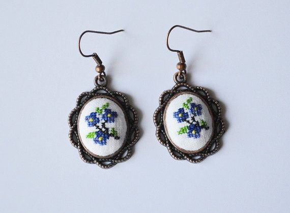 Earrings embroidered floral earrings jewelry gift by TomikArt