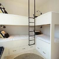 Alys Beach - boy's rooms - white bunkbed, corner bunkbeds, white bunk bed, corner bunk beds, bunkroom, bunk room, storage bunkbeds, bunkbed ...