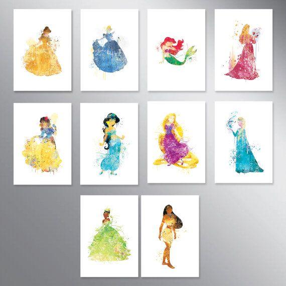 SALE Disney princess watercolor Set of 10 Nursery Art by artRuss