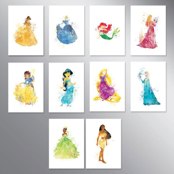 SALE Disney princess watercolor Set of 10 Nursery Art by artRuss