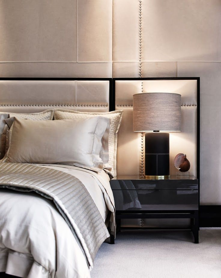 oyster and black palette for the master bedroom with high gloss bedside cabinets | Munge Leung design | The Paper Mulberry: || BEDROOM | Master suite