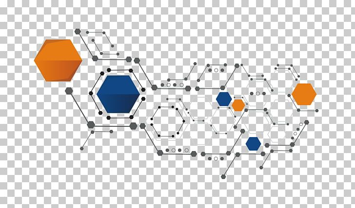 Shape Hexagon Science And Technology Shape Orange White And Blue Hexagons Illustration Png Clipart Science And Technology Hexagon Technology