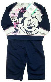 Nové - 2set - Šedo-tmavomodrá tepláková souprava s Minnie zn. Disney