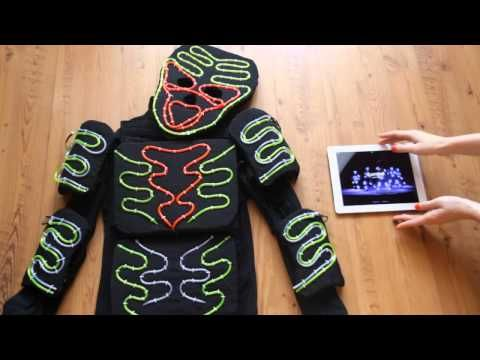How to make led light costume. El wire light suits with iPad control - YouTube