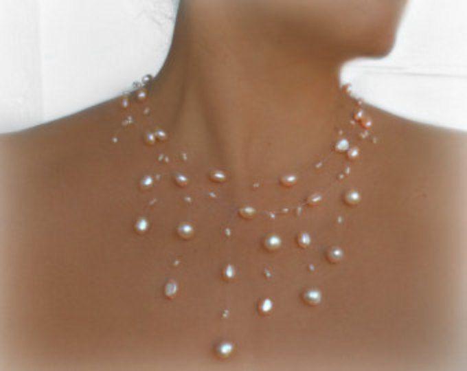 Collane Collana, collana di illusione nuziale, matrimonio, pesca d'acqua dolce perla di galleggiamento-spose, madre della sposa, gioielli da sposa,