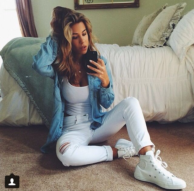 Devin Brugman style- all white everything, white leather high top converse, chambray