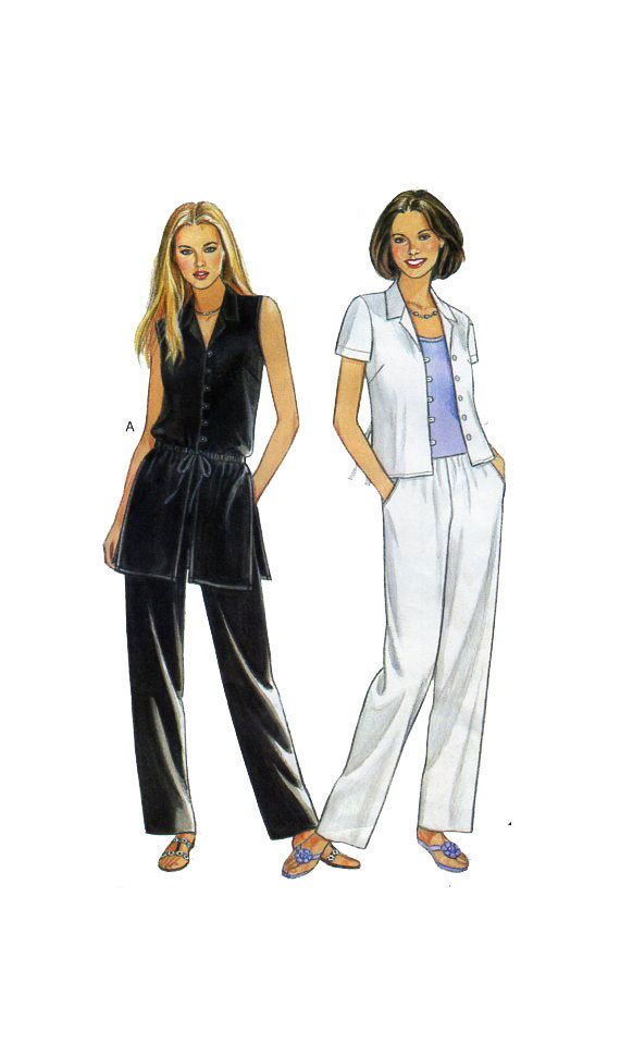 New Look 6875, Womens Casual Fashion, Sewing Pattern, Button Front Blouse, Tunic Top, Long Vest, Pants, Camisole, Short Sleeve Shirt, UNCUT