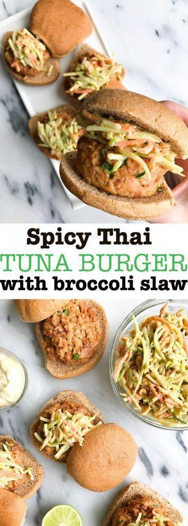 thai tuna burgers with crunchy peanut slaw spicy thai tuna burger ...