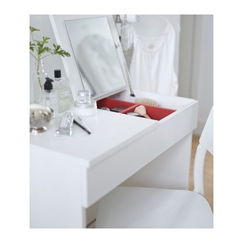 BRIMNES Dressing table  - IKEA -- This could be a good option for a bedside table/ desk alternative.
