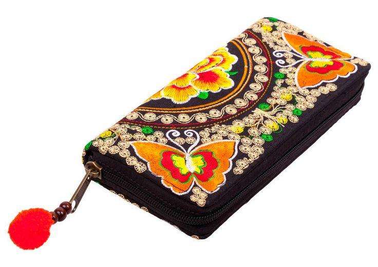 Portfel haftowany boho hippie motyle i kwiaty - jp2gallery - Portfele