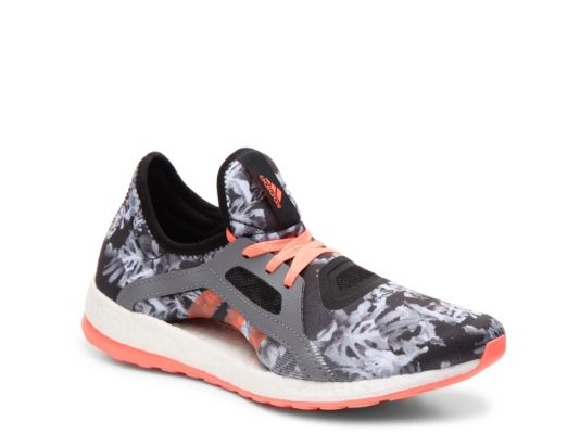 Women's adidas Pureboost X Printed Lightweight Running Shoe -  - Black/Grey/Coral