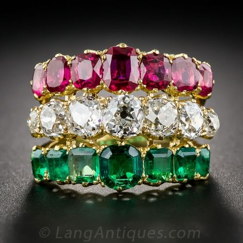 Antique Diamond, Ruby and Emerald 3-in-1 Ring