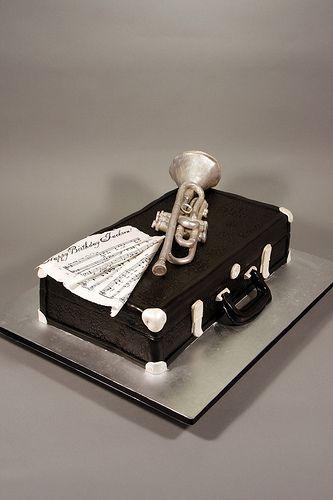 Trumpet & Vintage case birthday cake. | by marksl110