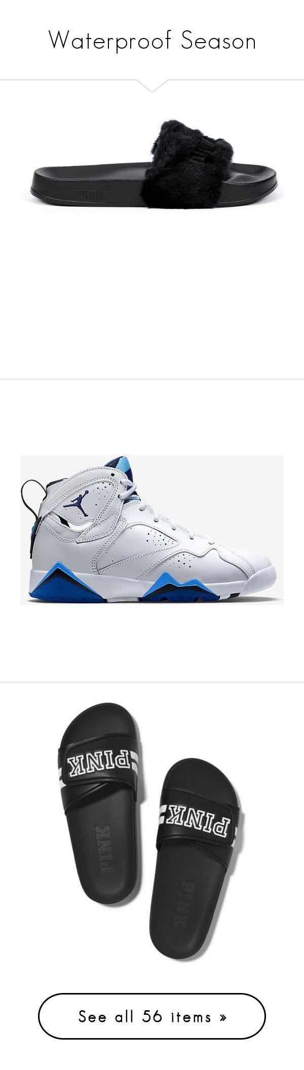 """Waterproof Season"" by bigdaddycam43 ❤ liked on Polyvore featuring shoes, sandals, black, black shoes, puma shoes, fur shoes, kohl shoes, puma footwear, jordan 7 and blue"