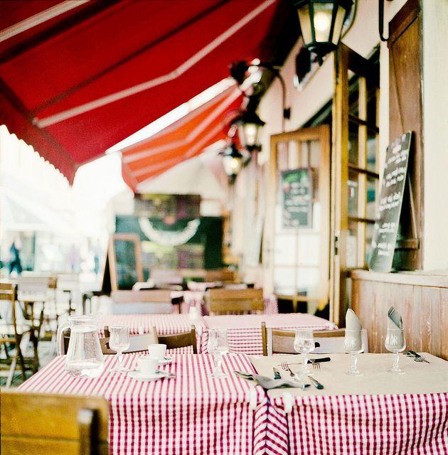 Love awnings to dine al fresco, it's fun in the rain too!