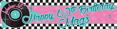 Party Packs | 'Add Your Name & Age' 50's Themed Personalised Banner - 120cm x 30cm