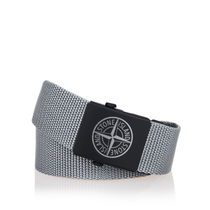 STONE ISLAND JUNIOR Boys Canvas Logo Belt - Grey Boys buckled belt • Woven fabric strap • Metal strap tip • Tonal matte buckle • Engraved compass logo • Material:100% Polypropylene • Code: SHALL
