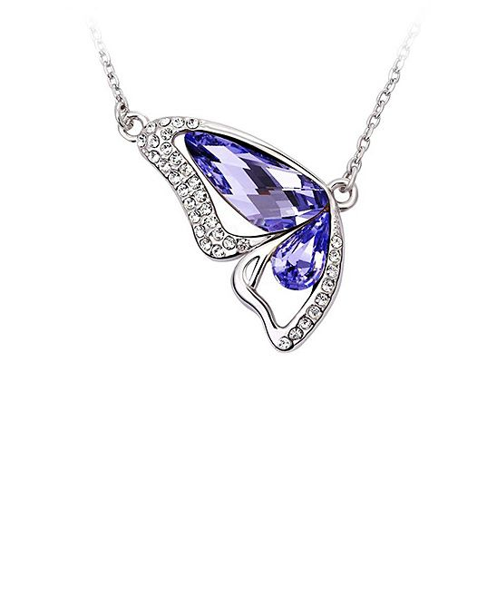 Purple Crystal Pendant Necklace Made With SWAROVSKI ELEMENTS MESTIGE $19.99 $59.00  Chain: 17'' L with 2'' extender Pendant: 30.8 mm x 18.3 mm Rhodium-plated zinc alloy / crystal made with SWAROVSKI ELEMENTS