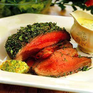 Örtstekt rostbiff med grönsakssås - Norrmejerier