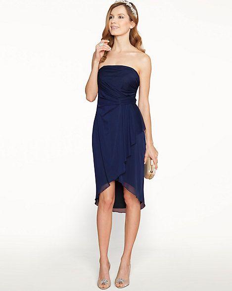 Sheer Overlay Strapless Dress