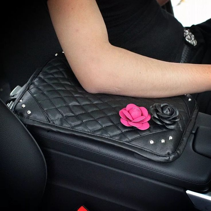 Black Leather Bling Car Center Console Cover with Pink and Black Flowers - Carsoda - 1