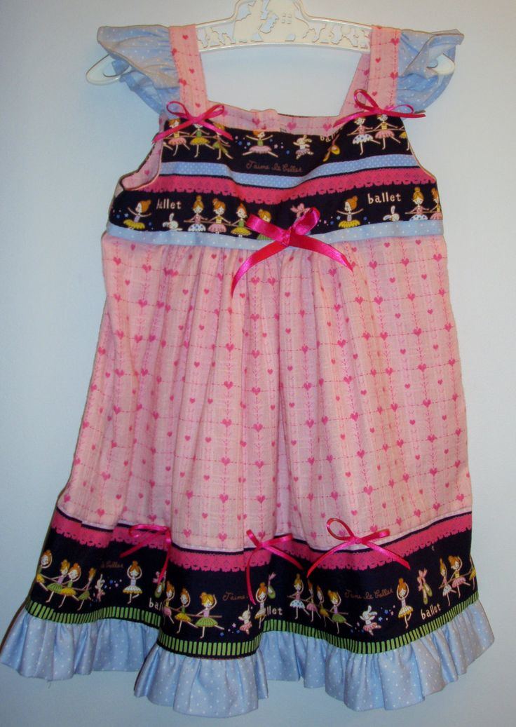 Girl's dress, pretty dress, size 18-24 months, frills, ballerina fabric, pink hearts, bows, baby present, unique, one of a kind, hand sewn, by LittleLarkClothing on Etsy