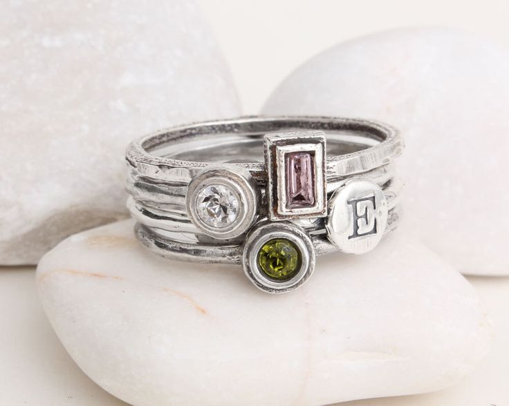 Mothers Rings Stacked Rings Sterling Silver Stackable Hand Stamped Custom Mothers Rings Birthstones and Initials. Design your own ring! by NelleandLizzy on Etsy https://www.etsy.com/listing/174875179/mothers-rings-stacked-rings-sterling