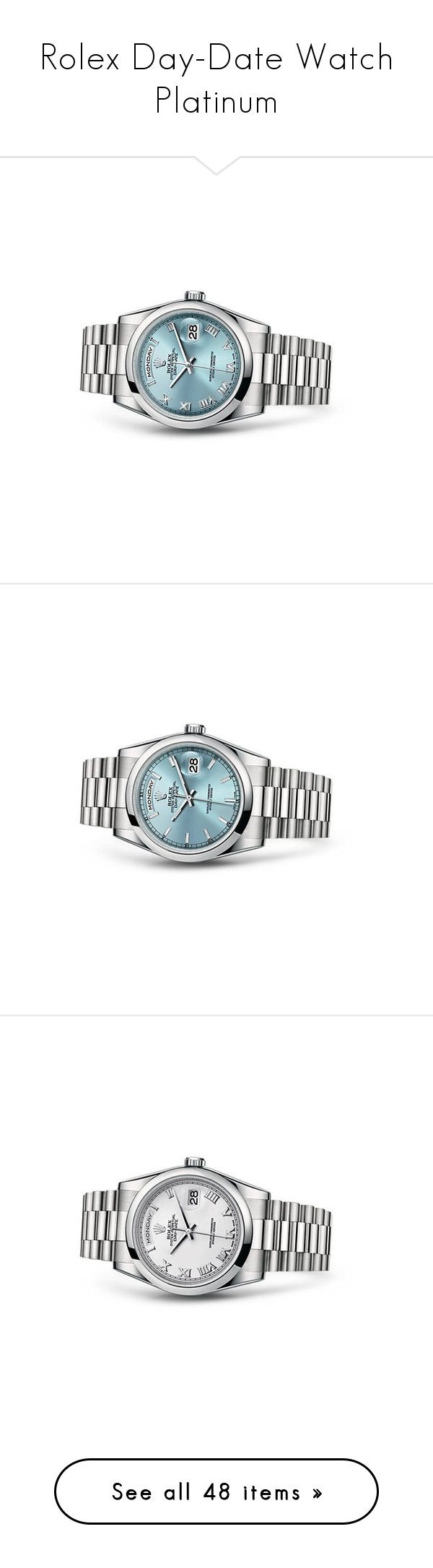 """Rolex Day-Date Watch Platinum"" by karalaska ❤ liked on Polyvore featuring jewelry, watches, rolex, rolex wrist watch, rolex jewelry and rolex watches"