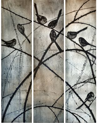 Long-tailed Tits collagraph print  by Kerry Buck