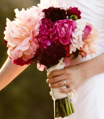 Bouquet with pink peonies and dahlias