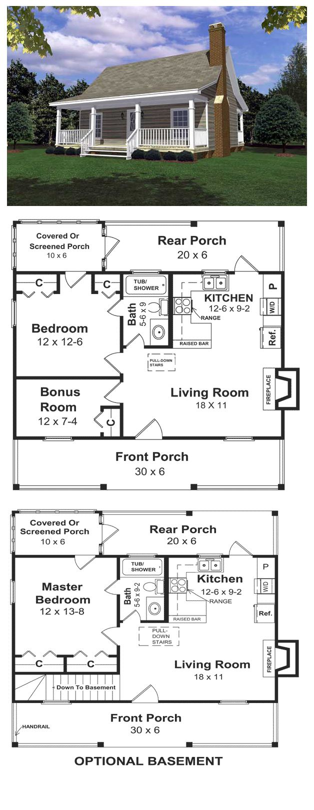 House Plan 59039 | Total living area: 600 sq ft, 1 bedroom & 1 bathroom. Designed for a weekend get-a-way for the woods, the lake or the beach. Relax in all summer/winter long in this cottage featuring. everything you need for the ideal short vacation.