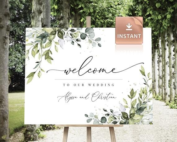 Welcome To Our Wedding Sign Greenery Wedding Welcome Sign Garden Wedding Sign Digital Download PDF Templett Sign 100/% Editable