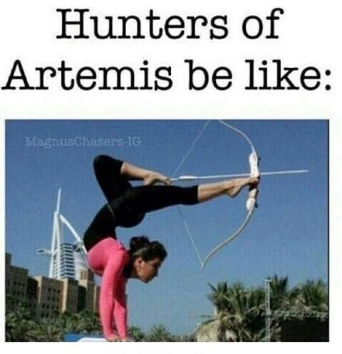 the can shoot a dam arrow! Let it sink in fangirls/boys of Pjo/Hoo