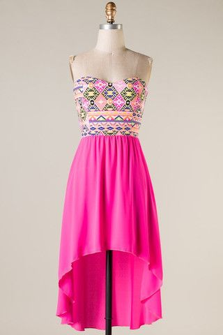 Hi Lo Aztec Party Dress - Hot Pink. Best website for dresses!!