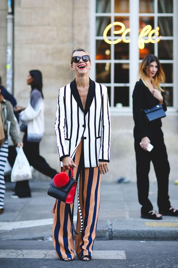 """The Best """"What IS She Wearing?"""" Looks From Paris #refinery29 http://www.refinery29.com/2015/10/95202/paris-fashion-week-spring-2016-street-style-pictures#slide-66 Mix and match your stripes...."""