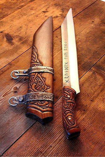 Nordic Sax, a type of single blade knife, with beautiful carving details. (Viking Blog elDrakkar.blogspot.com)