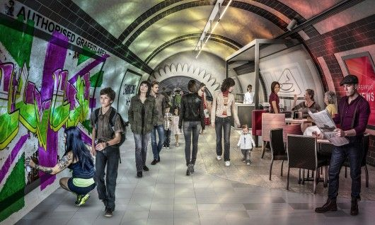 London's old tunnels proposed as bicycle, pedestrian network Pedestrian Tunnel. Image Courtesy of Gensler