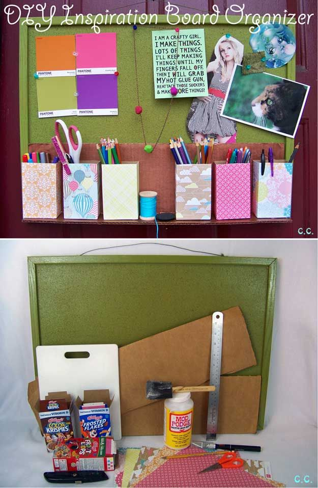 Cool DIY Organization Projects with Cereal Boxes | https://diyprojects.com/28-things-you-can-make-from-cereal-boxes/