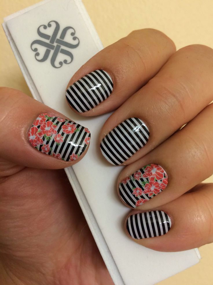 Black & White Skinny and May 2015's SSE May Flowers Jamberry Nail Wraps! Check them out www.AccessorizedMom.com