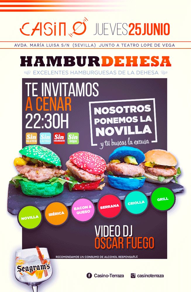 Degustaciones de Novilla #HamburDehesa en Casino-Terraza, uno de los sitios de moda de la noche sevillana.