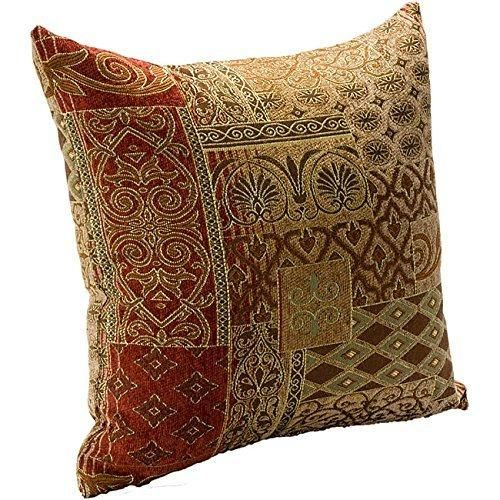 16x16 Brown Red Southwestern Throw Pillows Damask Geometric Tribal Pattern Southwest Rustic Country Themed Pillow Square Chevron Medallion Headrest