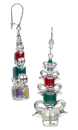 Earrings with Swarovski Crystal Beads and Silver-P…