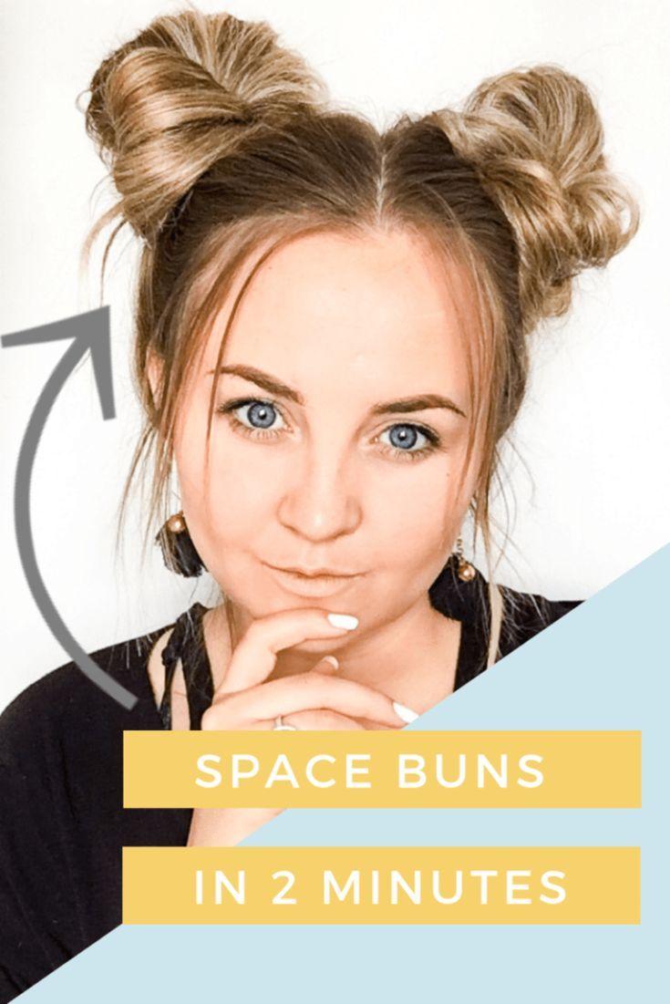 Space Buns Tutorial In Less Than 5 Minutes Hair Bun Tutorial Space Buns Hair Short Hair Bun