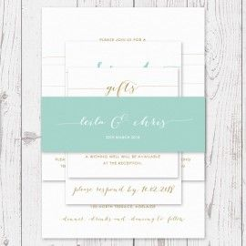 Modern Mint Green and Gold Urban Elegance Wedding Invitation with mint belly band | Peach Perfect Australia