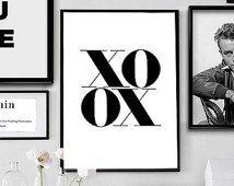 XOXO Scandinavian Art, Fashion Art Print, Minimalism Art, Printable Wall Art, Digital Instant Download Nordic Design