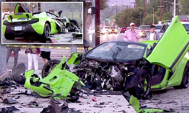 McLaren sports car is destroyed in two-vehicle crash in Los Angeles