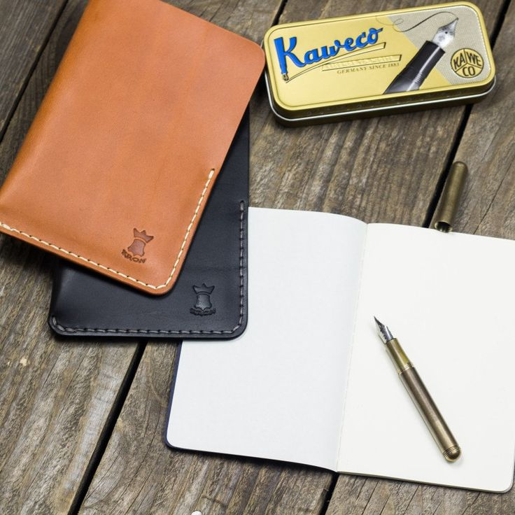 Protect your pocket notebook with a simple & durable full grain leather sleeve. #kron #handcrafted #leather #accessories #stationery #fieldnotes #pocketnotebook