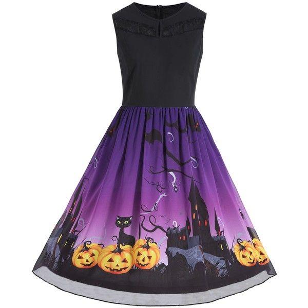 Plus Size Halloween Pumpkin Print Sleeveless Dress ($16) ❤ liked on Polyvore featuring dresses