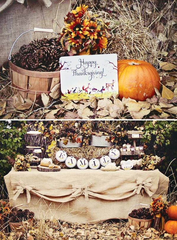 Thanksgiving woodland dessert table (beautiful Thanksgiving decor on this post)