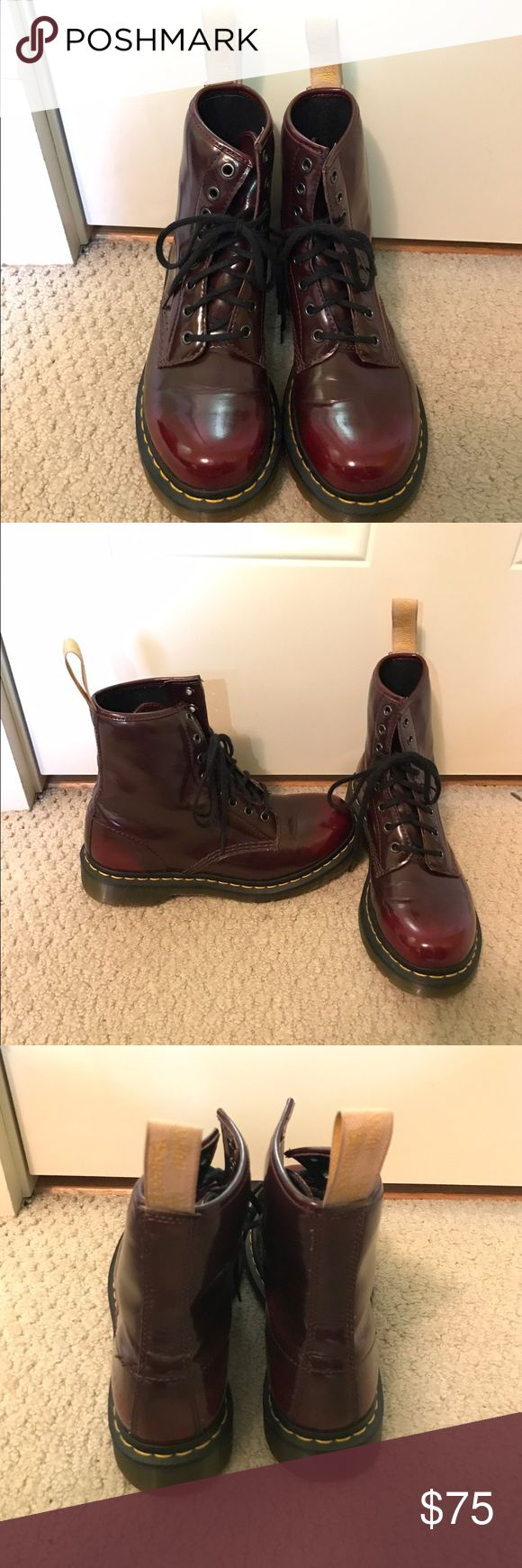 Dr. Marten Air Walks Boot made with cherry red vegan-friendly, synthetic material. Dr. Martens have an air-cushioned sole. Dr. Martens Shoes Combat & Moto Boots